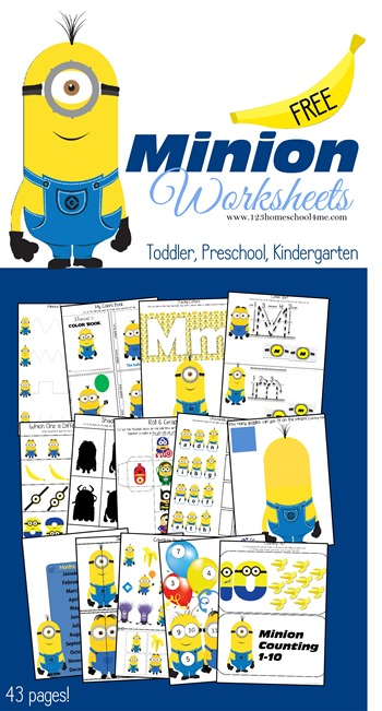 FREE Minion Worksheets for Kids (Toddler Preschool Kindergarten) These are SUPER cute and such a fun way for kids to practice counting, letters, addition, patterns, sorting, months of the year, cut and paste and so much more! Perfect for a Despicable Me or Minions theme.