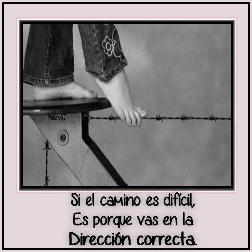 Frase: Si el camino es difícil, es porque vas en la dirección correcta