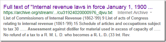 Google result for _Internal Revenue Laws in Force January 1, 1900""