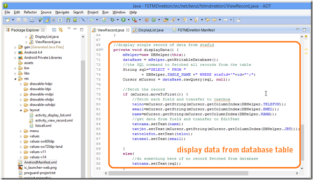 code for ViewRecord display data from database table