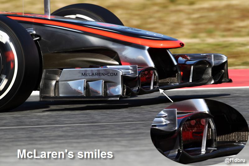 смайлик на носовом обтекателе McLaren на предсезонных тестах 2012 в Барселоне 22 февраля 2012