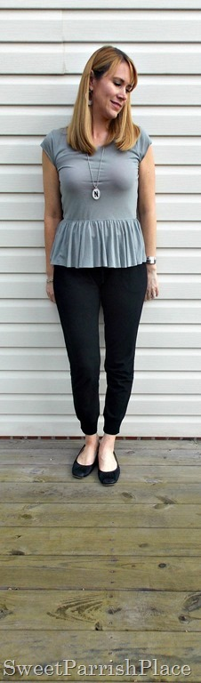 black joggers, grey peplum shirt, black flats1