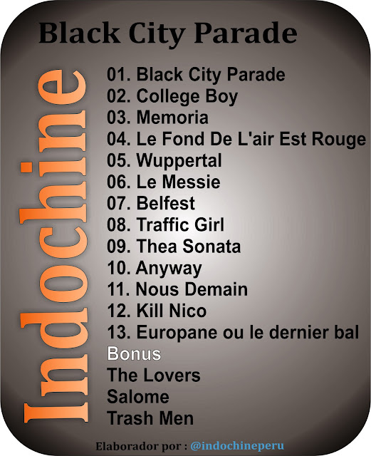 Tracklisting del álbum Black City Parade