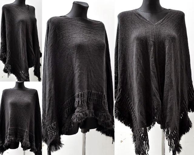 damen poncho strick jacke pullover mantel cardigan tunika. Black Bedroom Furniture Sets. Home Design Ideas