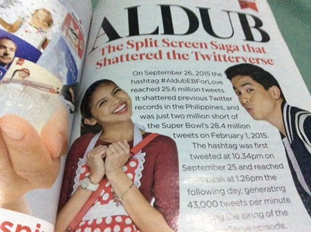 AlDub in Reader's Digest December 2015 (tikisoka on Twitter)