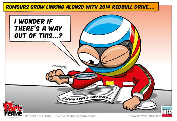 Фернандо Алонсо изучает контракт Ferrari - комикс Chris Rathbone