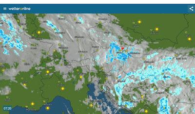 *Satellitenbild von 7:20 Uhr* Ein Regenpaket liegt derzeit über dem Osten von Österreich. Diese gehört noch zu der sich aufllösenden Luftmassengrenze, die die vergangenen Tage fast stationär zwischen Ostdeutschland, Tschechien bis nach Ungarn lag und viel Regen mit sich brachte. Die Wetterbesserung naht aber vom Westen her. Sehr sonnig auch über Polen.