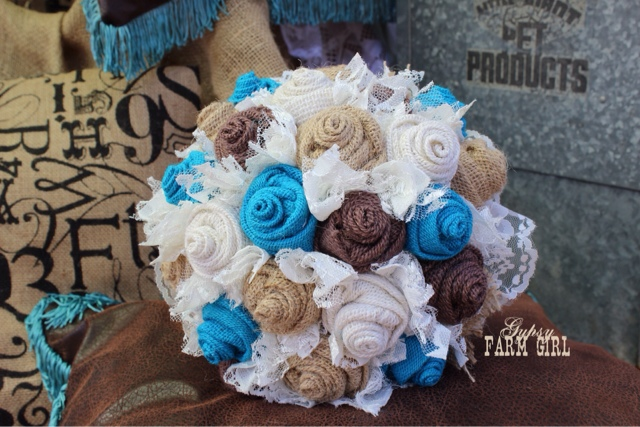 turquoise burlap and lace rustic bridal bouquet