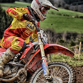 Turning by Marco Bertamé - Sports & Fitness Motorsports ( red, wheel, motocross, speed, round, yellow, race )
