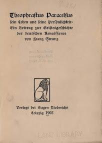 Cover of Franz Strunz's Book Theophrastus Paracelsus (in German)