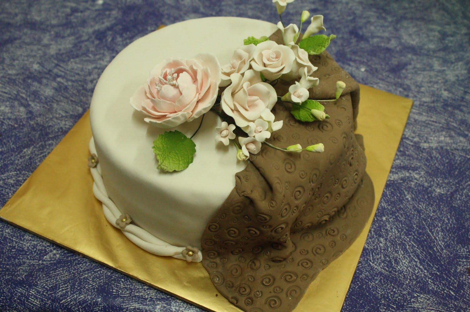 Brown & Ivory Wedding Cake