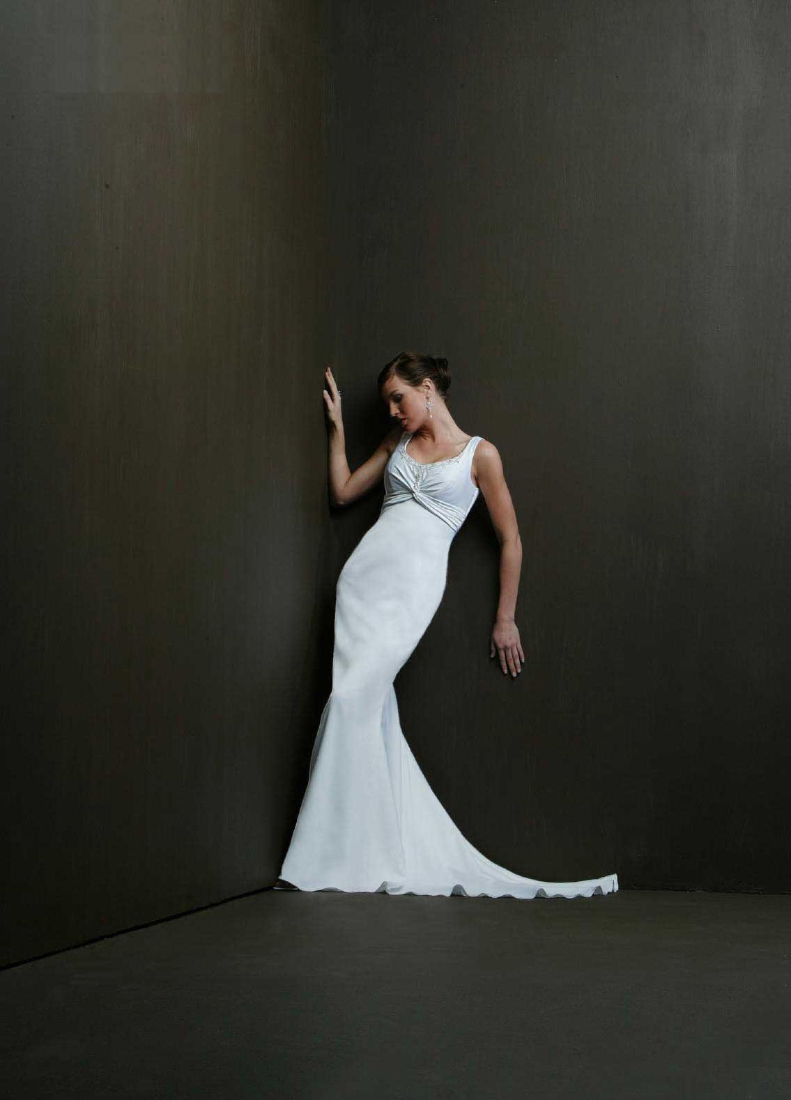 Satin Mermaid Brush Train Sleeveless Jewel Silver Informal Wedding Dresses