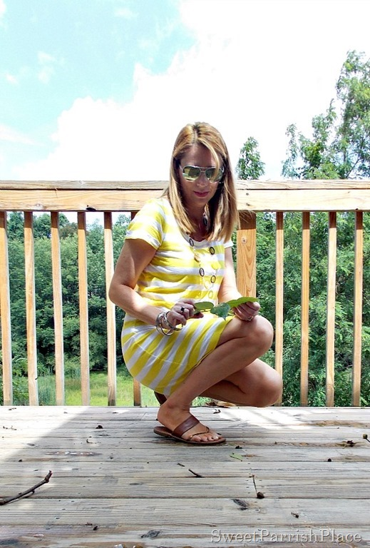 yellow striped shirt dress3