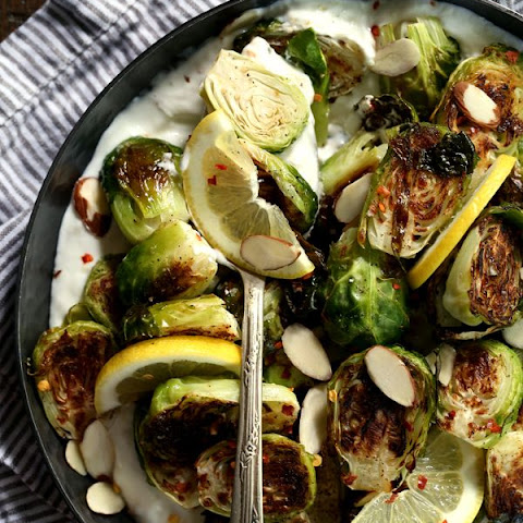 Roasted Brussels Sprouts with Lemon and Greek Yogurt
