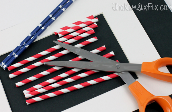 Cutting red white and blue straws