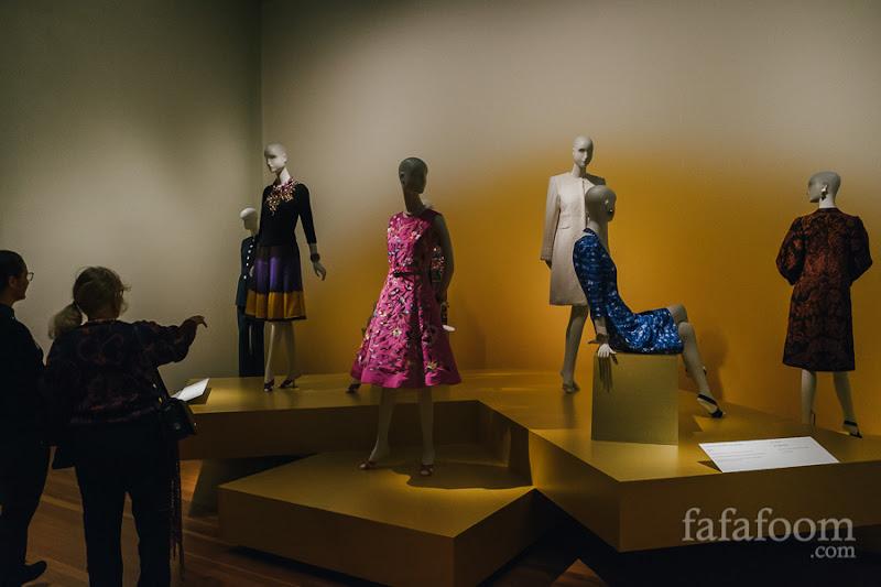"""Day Wear"" Showcase of Oscar de la Renta: The Retrospective exhibition at de Young Museum, San Francisco."