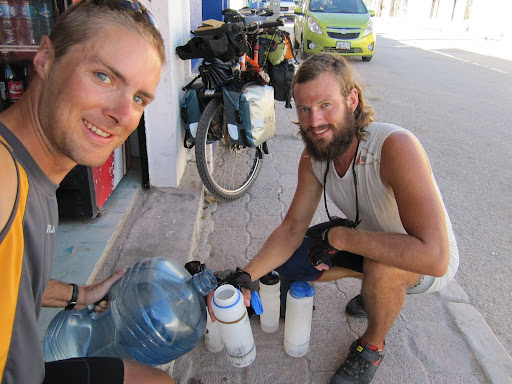 20 liters of water lasts about 24 hrs, and somehow we can fit it all on the bikes.