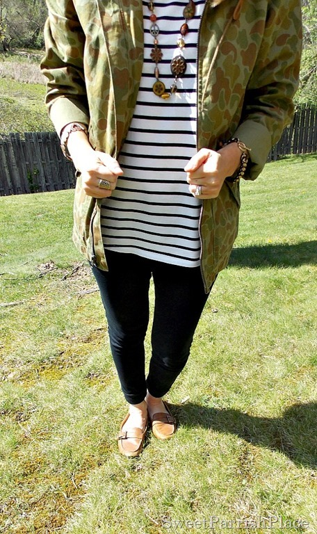 Black Leggings, Striped shirt, camoflauge jacket, brown loafers4