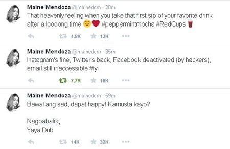 Maine Mendoza gets back her Twitter account