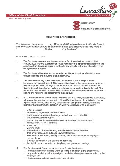 Compromise agreement cover letter