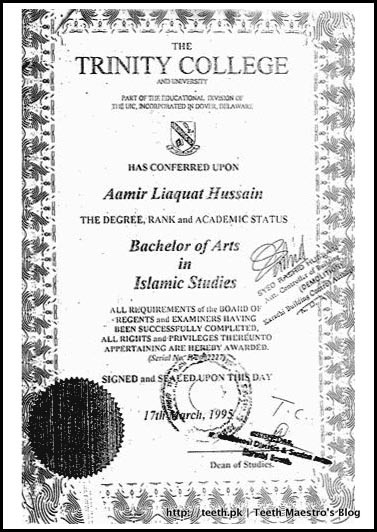 Copy of Amir Liaquat Hussain's Bachelor of Islamic Studies from Trinity College & University
