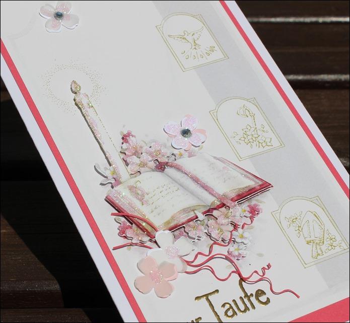 Taufkarte Mädchen rosa Kreuz 02