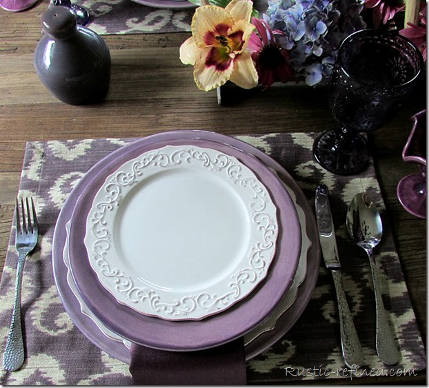 Purple Ikat Placemats with White and Purple Dishes