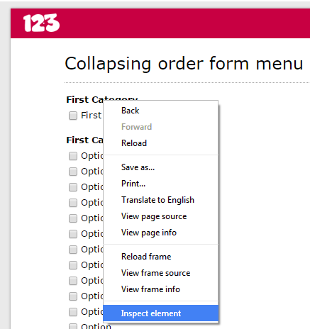 123contactform create collapsing menu
