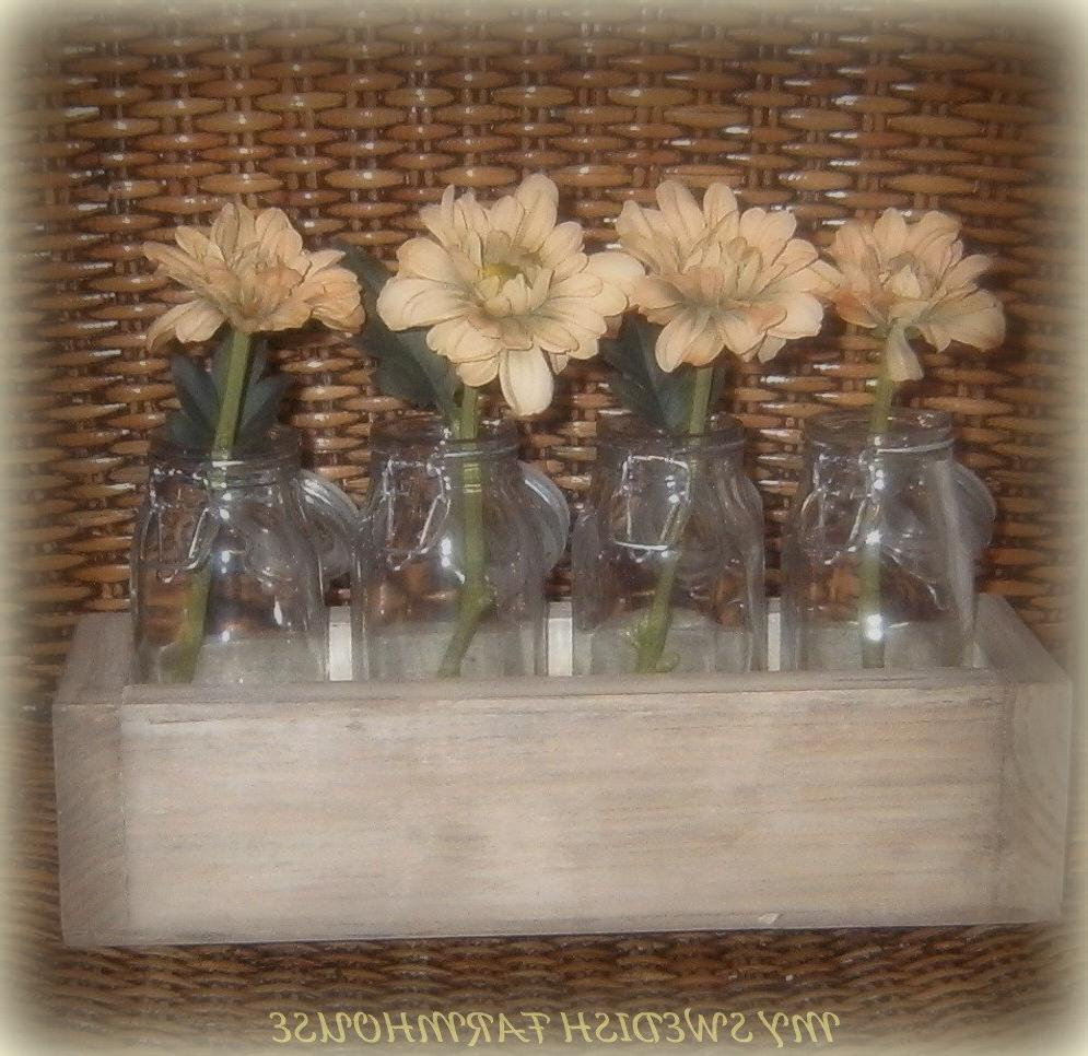 4 Milk Bottle Vases in a Crate