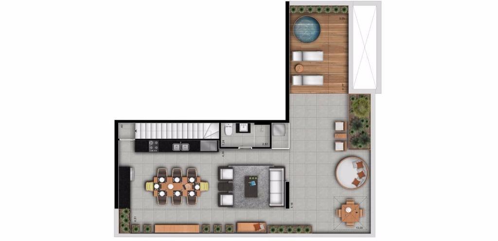 Planta Cobertura Duplex Superior 152 m²