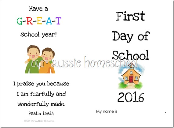 First Day of School Booklet | Our Aussie Homeschool