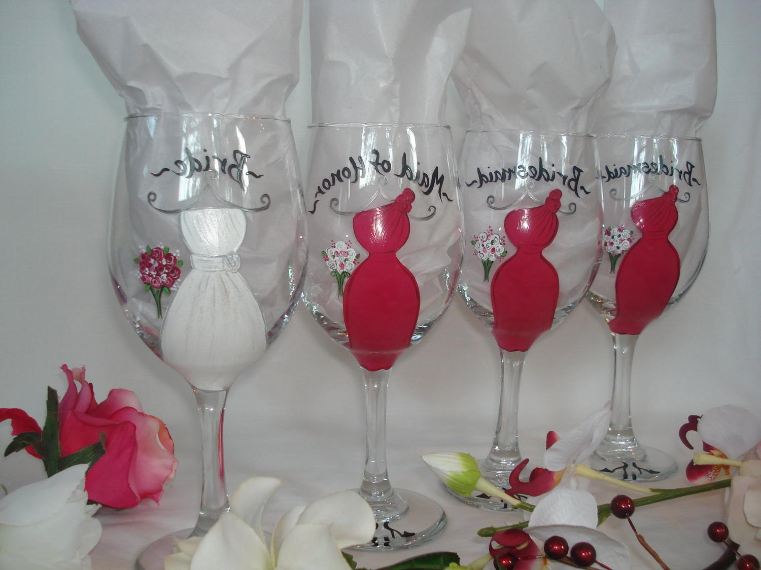 Personalized hand painted bridal party wine glasses set of 4 gift