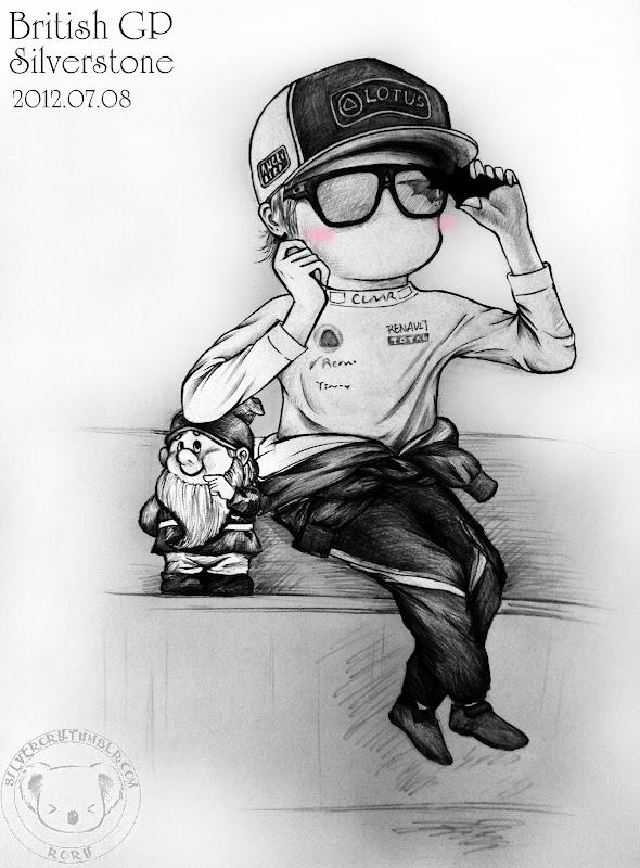 Кими Райкконен и гномик на Гран-при Великобритании 2012 - рисунок Silverory