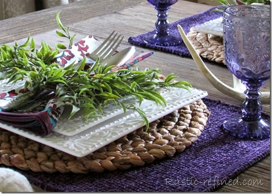 Purple Tablescape on my Flat Iron Dining Table for Summer