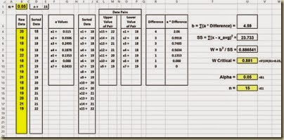 Shapiro-Wilk Normality Test in Excel - Loookup Critical W