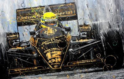 Айртон Сенна и его первая победа за Lotus на Гран-при Португалии 1985 - рисунок Art Rotondo