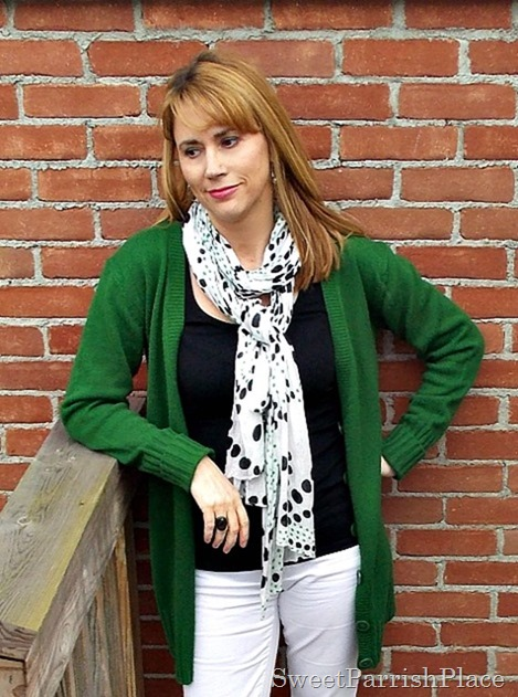 White jeans, black tank, green cardigan, black flats4
