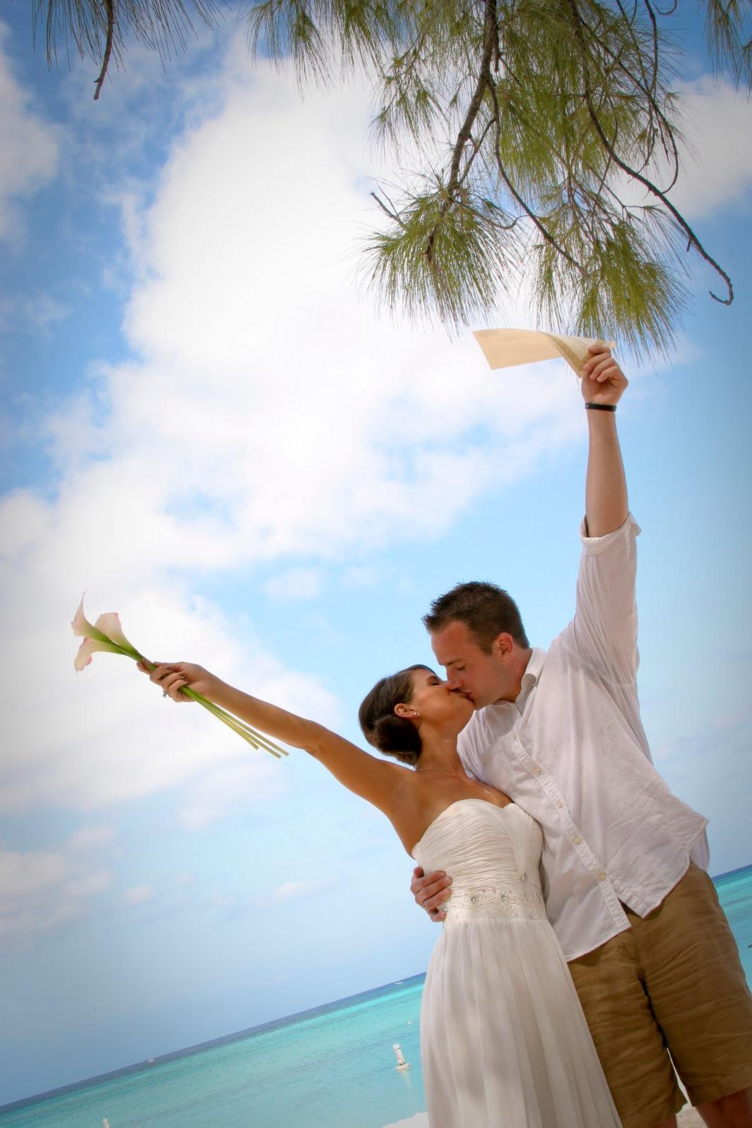Traditional Cayman Beach Wedding Good Choice for Topeka, KS Couple