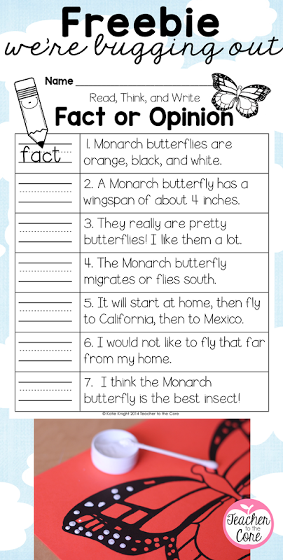 Monarch butterfly freebie- Fact and Opinion and Art from Teacher to the Core