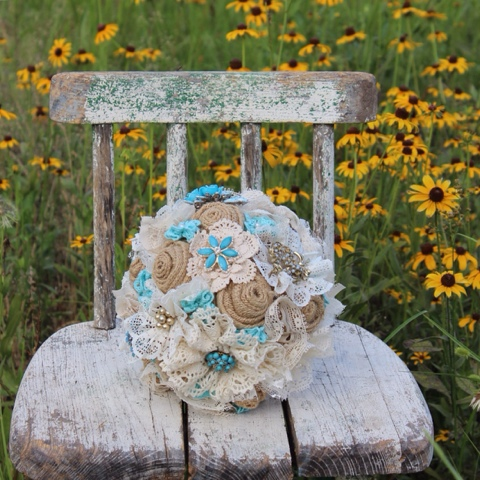 Aqua lace and brooch bouquet