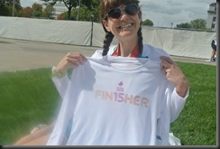 "They hand out the finisher's shirt to ""finishers"" after they finish....imagine that!"