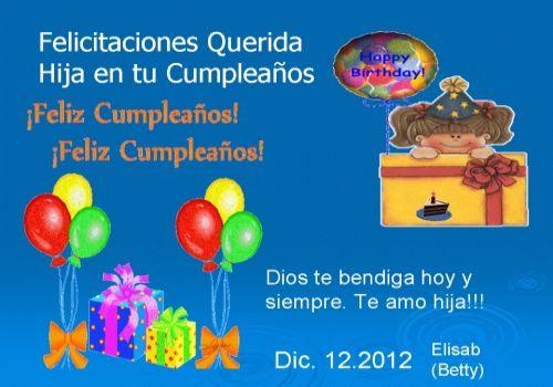 Mensajes cumpleaños para hija Frases ~ Frases de cumpleaños