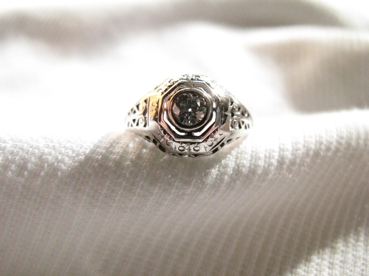 Art Deco Period Diamond and 18K Gold Ring. From RESales