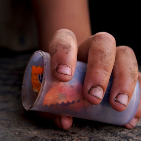 Playing Dirty; by Afzal Khan - People Body Parts ( child, story, hands, fingers, street, life., pwchands, dirt, garbage, close up )