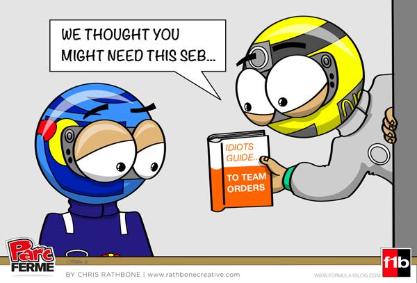 Нико Росберг предлагает книжку Себастьяну Феттелю - Parc Ferme комикс Chris Rathbone по Гран-при Малайзии 2013