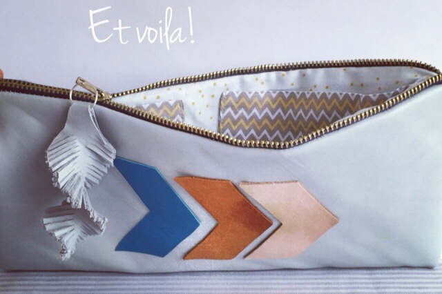 chevron leather pouch finished