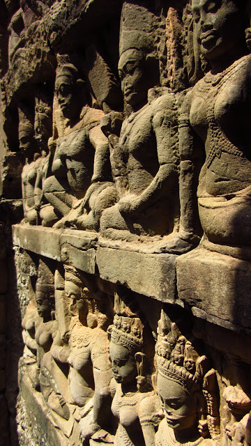 Stone carvings in Angkor.
