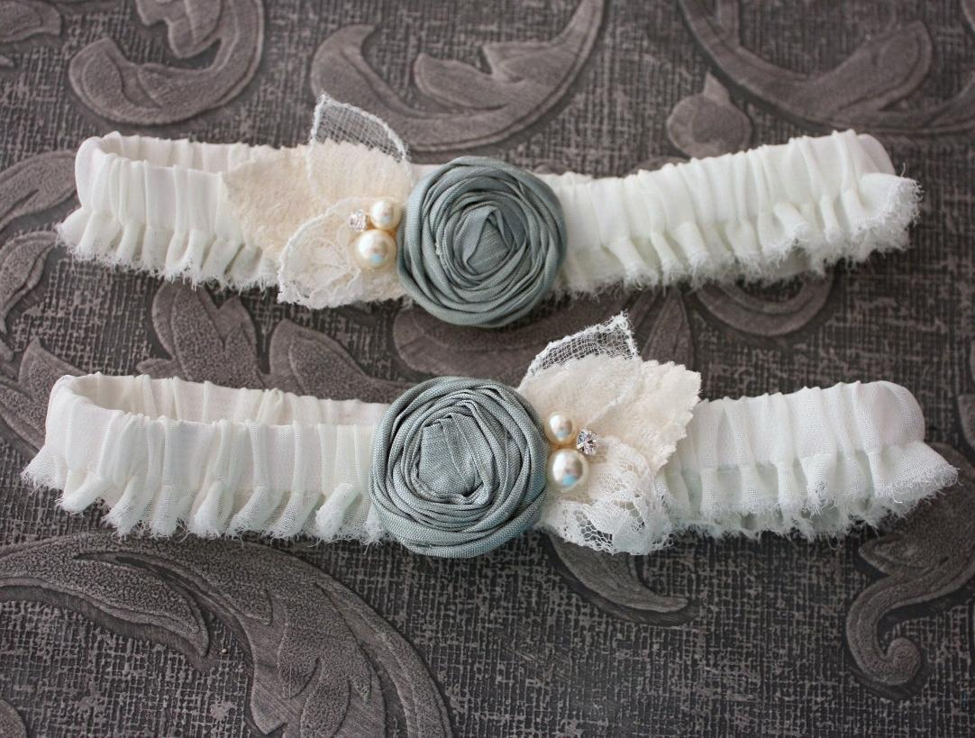 Ella - Vintage Style Bridal Garter SET in Ivory and Blue  Many Colors