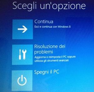 Windows 8 Risoluzione dei problemi aggiorna o reimposta il PC o utilizza strumenti avanzati