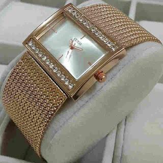 jam tangan Guess rantai jaring gold